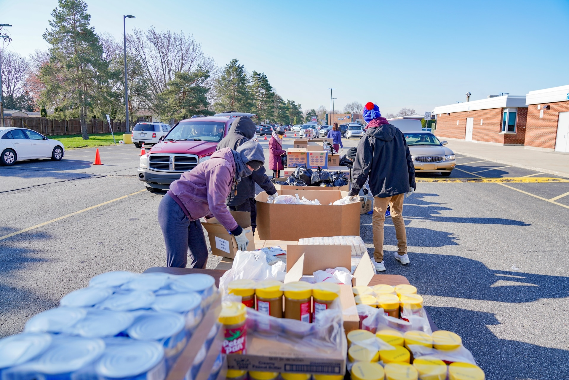 Gleaners staff distributes food at Carter Middle School in Warren, Michigan.