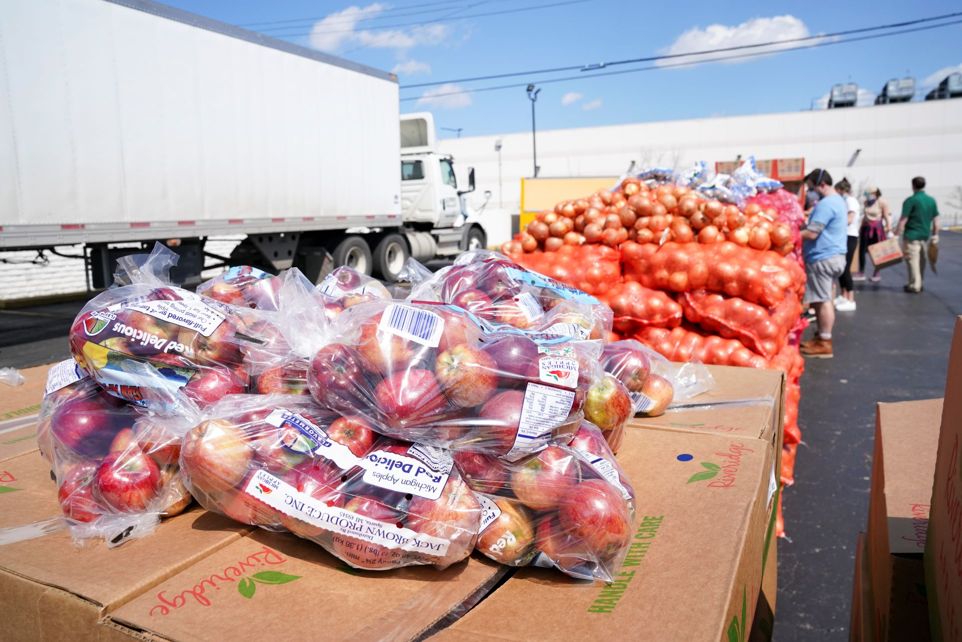 Nutritious fruit and vegetables provided to families in need in Detroit, Michigan.