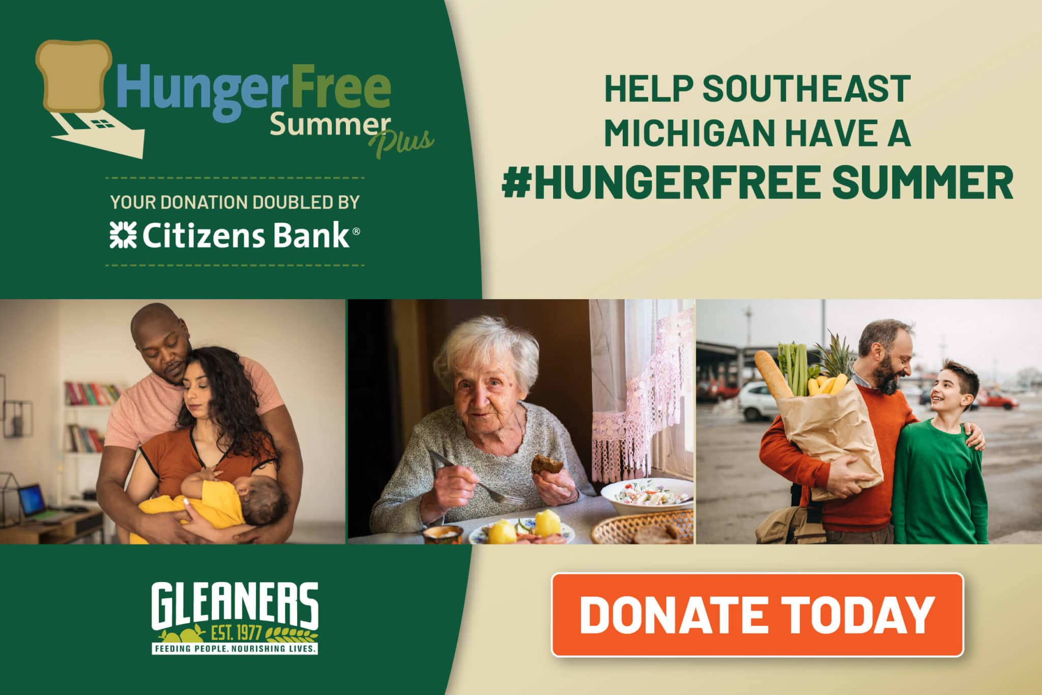 Hunger Free Summer Plus Doantion Graphic with three images of familles and a senior.